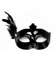 Masca Venetiana Neagra Cu Pana
