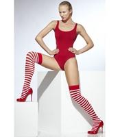 Ciorapi cu banda Craciunita alb/rosu