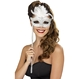 Carnaval / Petreceri Masti Carnaval Masca Baroque Fantasy Alba Cu Maner
