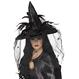 HALLOWEEN Palarii Halloween Palarie Vrajitoare cu voal negru
