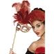 Carnaval / Petreceri Masti Carnaval Masca Baroque Rosie Cu Maner