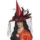 HALLOWEEN Palarii Halloween Palarie Vrajitoare - rosie cu voal negru